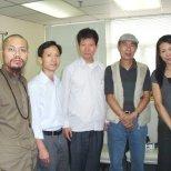 2009 年中國禅林畫院(HK)院委會香港會議,左起:古一雄、李智隆、王子天、朱東明、馬俐