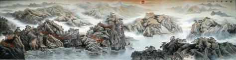卜璽山創作中國最高人民法院大廳壁畫《盛世金秋》尺寸:5.4mX19m=102.6㎡