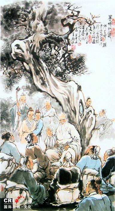 《苦城讲学》 《苦城讲学》 孔子闻知老子在苦城隐居,于公元前492年,携徒驾车南游,赴苦城,再次向老子问礼。